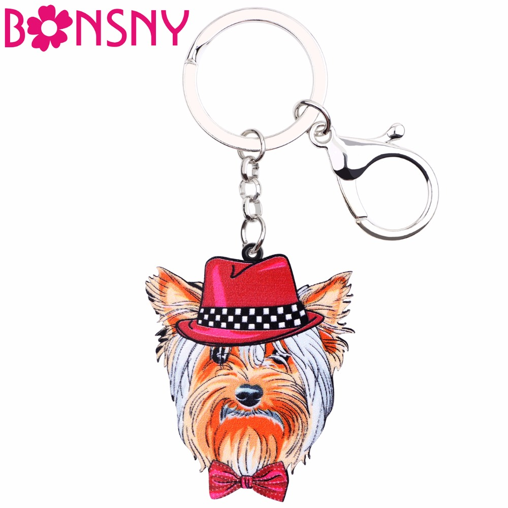 Bonsny Acrylic yorkie yorshire terrier Key Chain Key Ring Women Girls Handbag Pendant New Charm Dog Jewelry Car Key Accessories ...