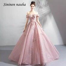 Rosa Vestidos Quinceanera Off The Shoulder Apliques vestido de Baile vestido Longo do Baile de finalistas Vestido de Festa Vestidos De Vestidos de 15 Años Doce 16 302