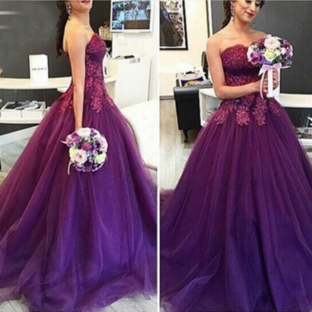 7d86f5b999e 2017 Purple Ball Gown Prom Dress Sweetheart Appliqued with Lace Tulle A  Line Vintage Formal Evening gown for Graduation ves