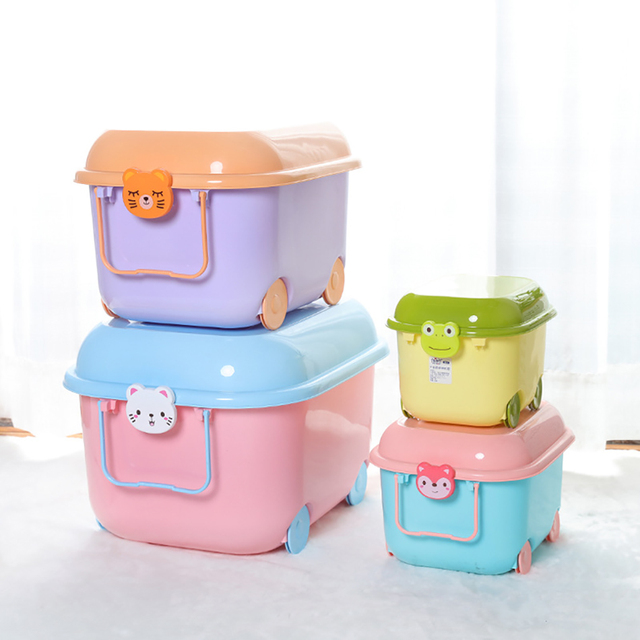 Children S Toy Storage Box Plastic 8l Cartoon Pulley Toys Clothing Daily Necessities