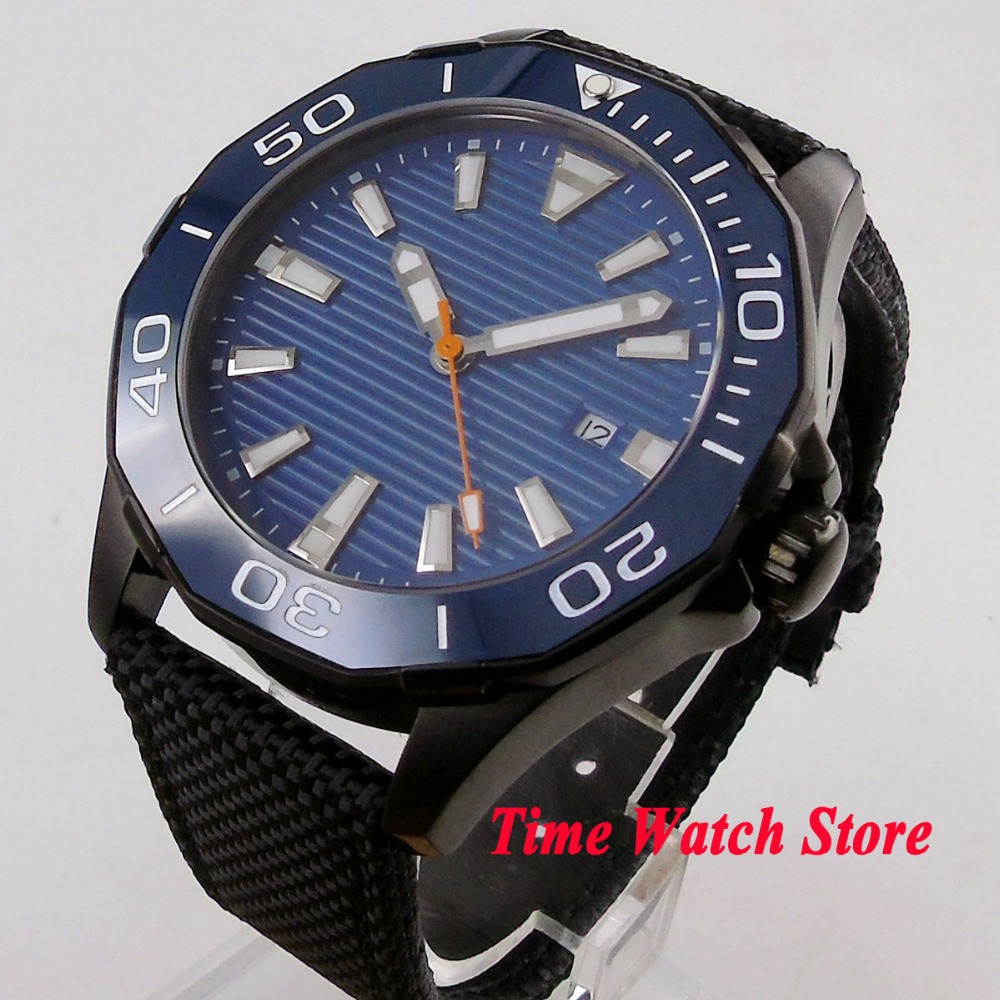45mm PVD men's watch no logo blue dial luminous ceramic bezel sapphire glass 5ATM MIYOTA Automatic movement wrist watch PL14 цена