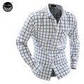 2017 Hombres de La Manera Camisa de Los Hombres Camisa A Cuadros de Color Hit Ocio Delgado Cuello Cuadrado Camisa de Un Solo Pecho de Manga Larga camisa XXL NFJHF