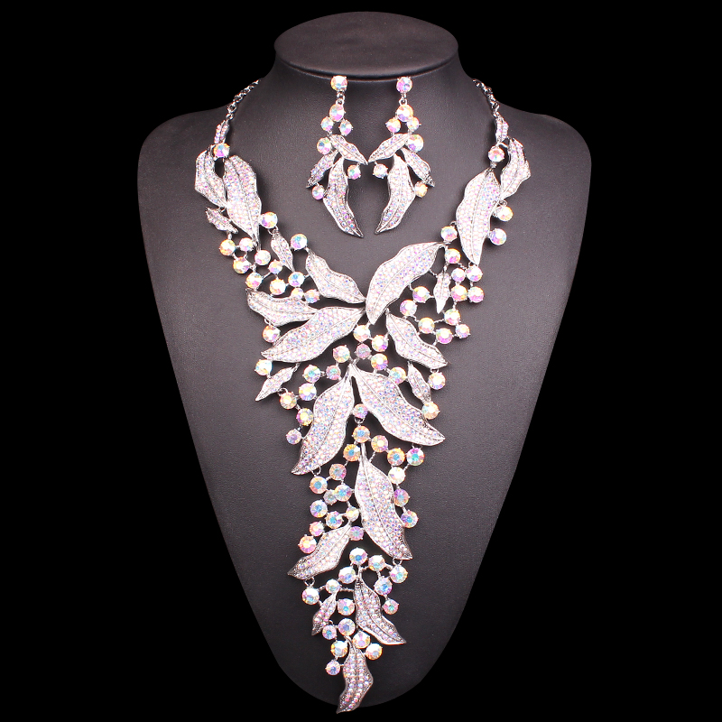 Fashion Rhinestones Bridal Jewelry Sets for Brides Necklace & Earrings Jewellery Wedding Party Costume Decoration Accessories