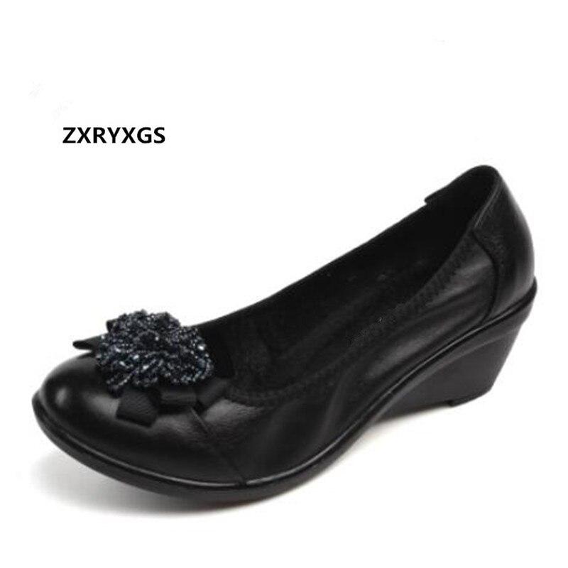 Vendidos Zapatos 2019 Zxryxgs Moda Suave black Piel 001 Alto Nuevo 002 Mujer  Vaca Tacón Elegante Cuñas Con Arco Cuero Cuentas De Marca ... 493c6c359cf4