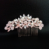 Art Deco Rose Gold Plated Clear Crystals And Pearls Flower Leaves Wedding Hair Comb Bridal Headpiece