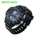 Relógio de pulso dos homens sanda relógios de marcas de luxo homens s estilo militar do exército sports relógio de quartzo analógico digital led relógio relojes hombre