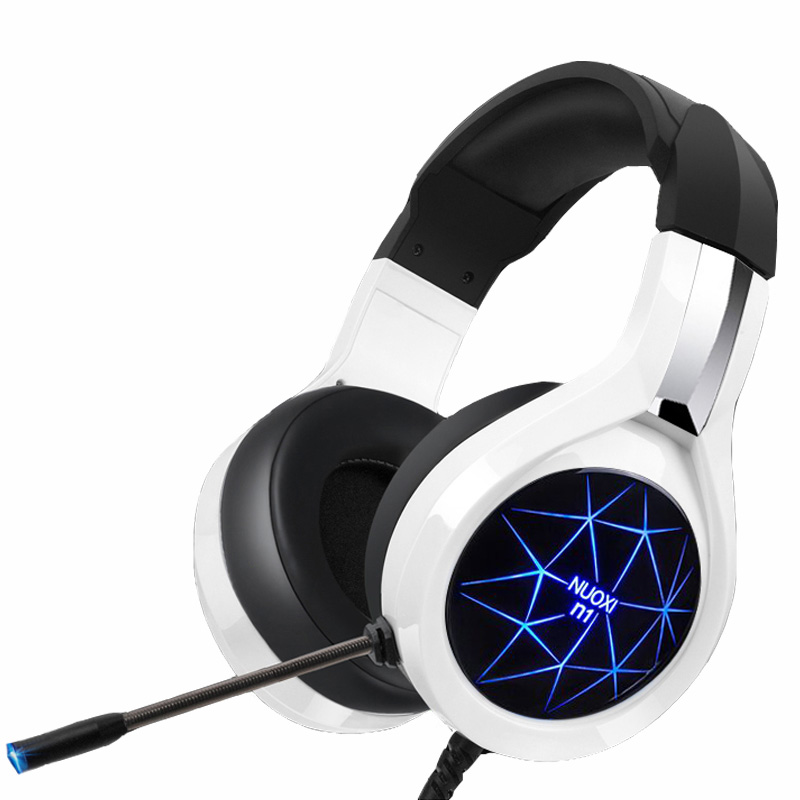 NUOXI N1 Gaming Kopfhörer casque Computer Stereo Deep Bass-Spiel Kopfhörer Headset mit Mikrofon LED Hintergrundbeleuchtung für PC Gamer