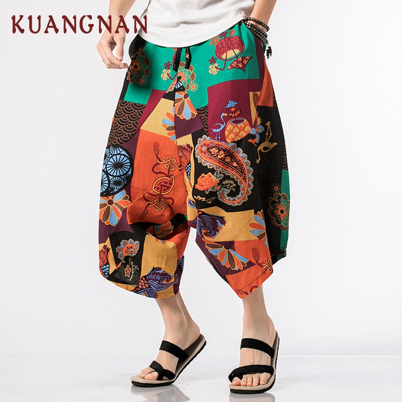KUANGNAN Pants Men Trousers Cotton Linen Chinese-Style Hip-Hop Calf-Length