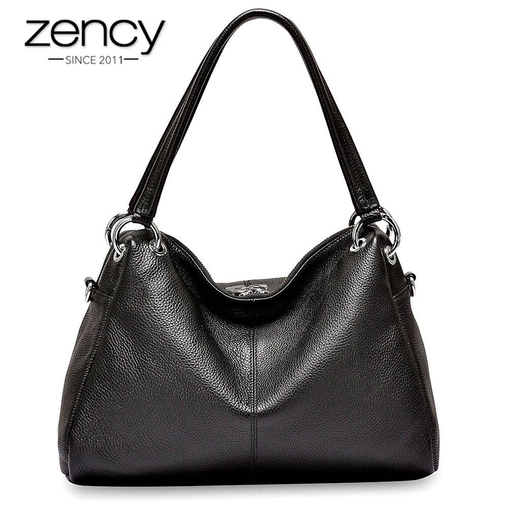 Zency модные вместительные сумки 100% из натуральной коровьей кожи мягкой для женщин Классическая сумка через плечо черный элегантный леди ...
