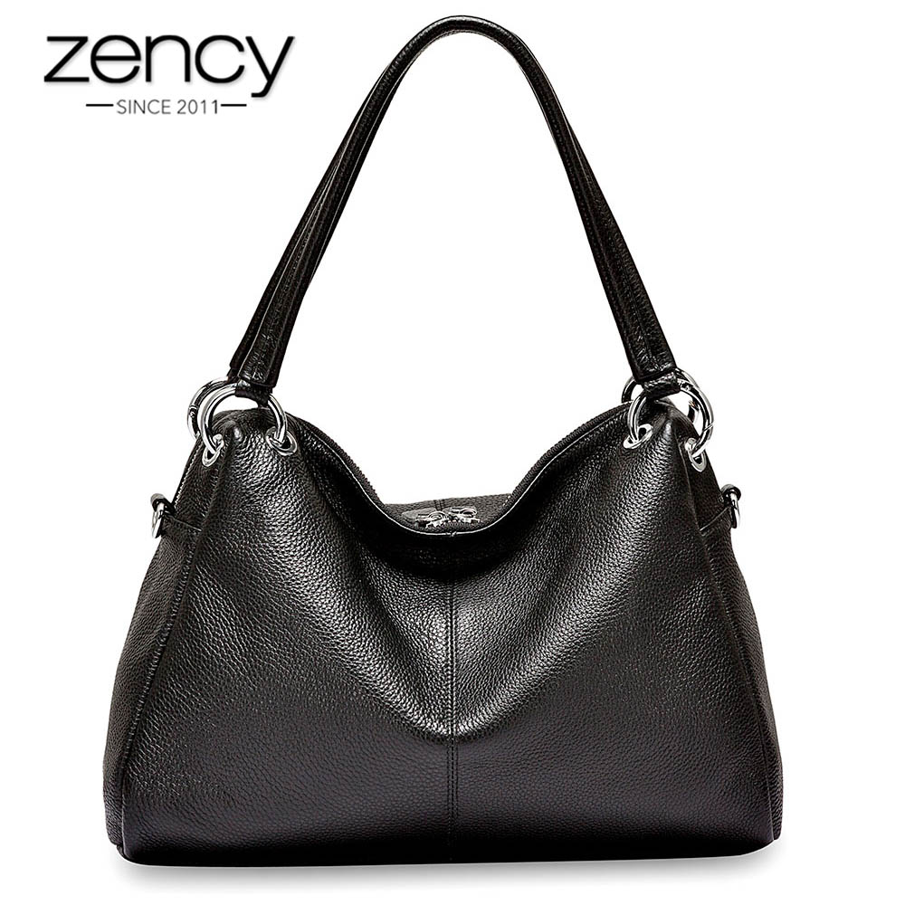 Zency Fashion Hobos 100% Genuine Leather Soft Skin Women Shoulder Bag Classic Black Elegant Lady Crossbody Purse Tote Handbag