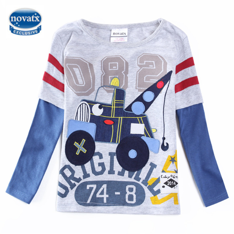 Boys t shirt children clothing crocodile embroidery nova kids clothes cotton long sleeve ...