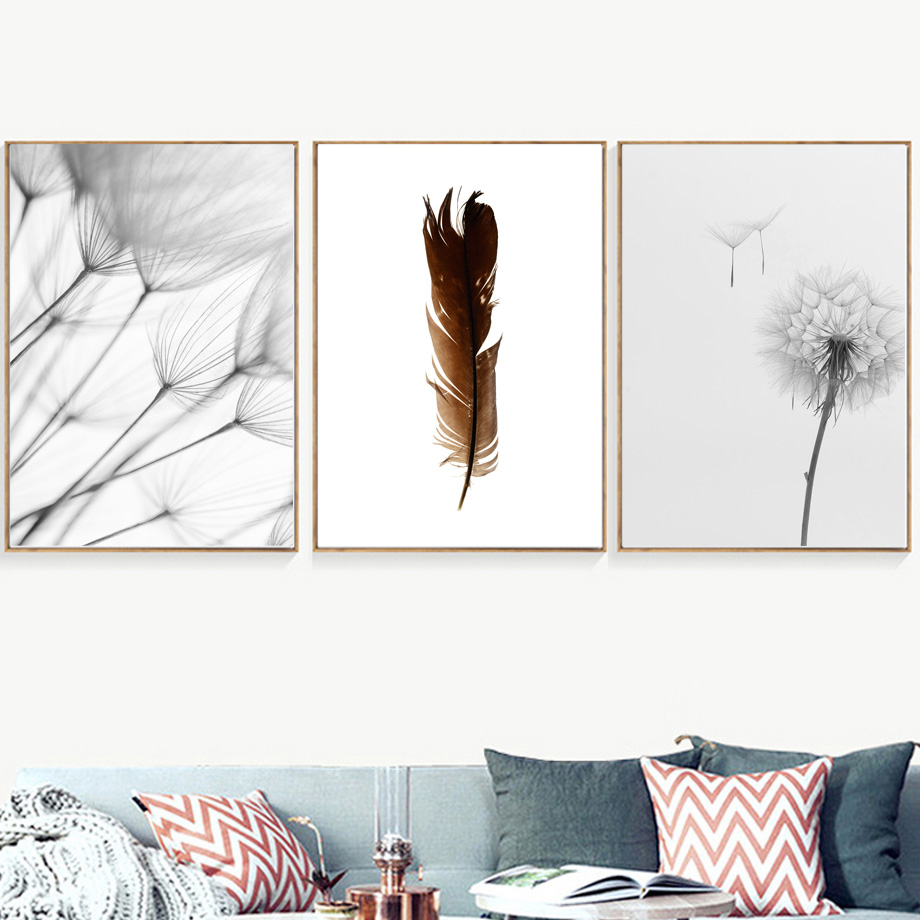 Dandelion Feather Abstract Girl Plant Nordic Posters And Prints Wall Art Canvas Painting Wall Pictures For Living Room Decor in Painting Calligraphy from Home Garden