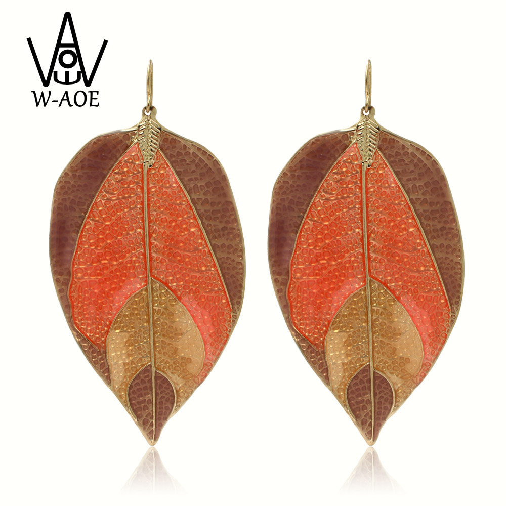 2019 New Trendy Gold Color Enamel Leaf Dangle Ականջօղեր - Նորաձև զարդեր