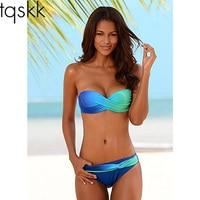 TQSKK New 2017 Bikinis Women Swimsuit Female Swimwear Retro Sexy Summer Bikini Set Beach Swim Wear