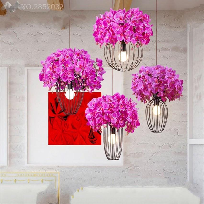 JW American Pastoral Fabric Flower Pendant Lamp Iron Pendant Lights ...