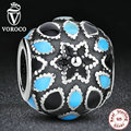 Pure 925 Silver New Year Gift FLORAL SILVER CHARM WITH 3 SHADES OF BLUE ENAMEL Charm Fit Pandora Original Bracelet Beads S116