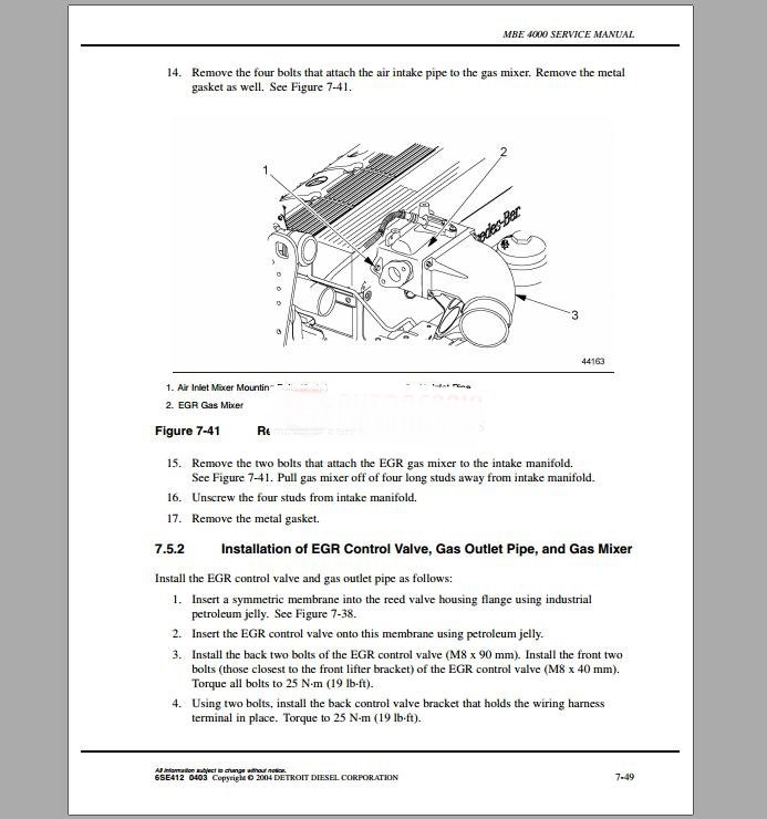 Detroit Diesel MBE 4000 Training Center Support Documentation