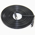 5M 16FT Flat Noodle Mini 5P Cable USB2.0 Type A Male to Mini 5P Male Foil Braided For MP3 4 5 Black Pure Copper