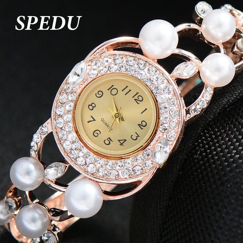 SPEDU Quartz Wristwatches Bracelet Watches Gold Plated Watch Crystal Luxury Brand Women Inlaid Pearl Watch
