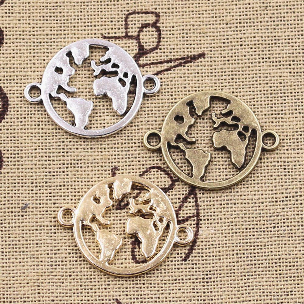 8pcs Charms world map link earth connector 20x26mm Antique Silver Bronze Pendants Making DIY Handmade Tibetan Finding Jewelry