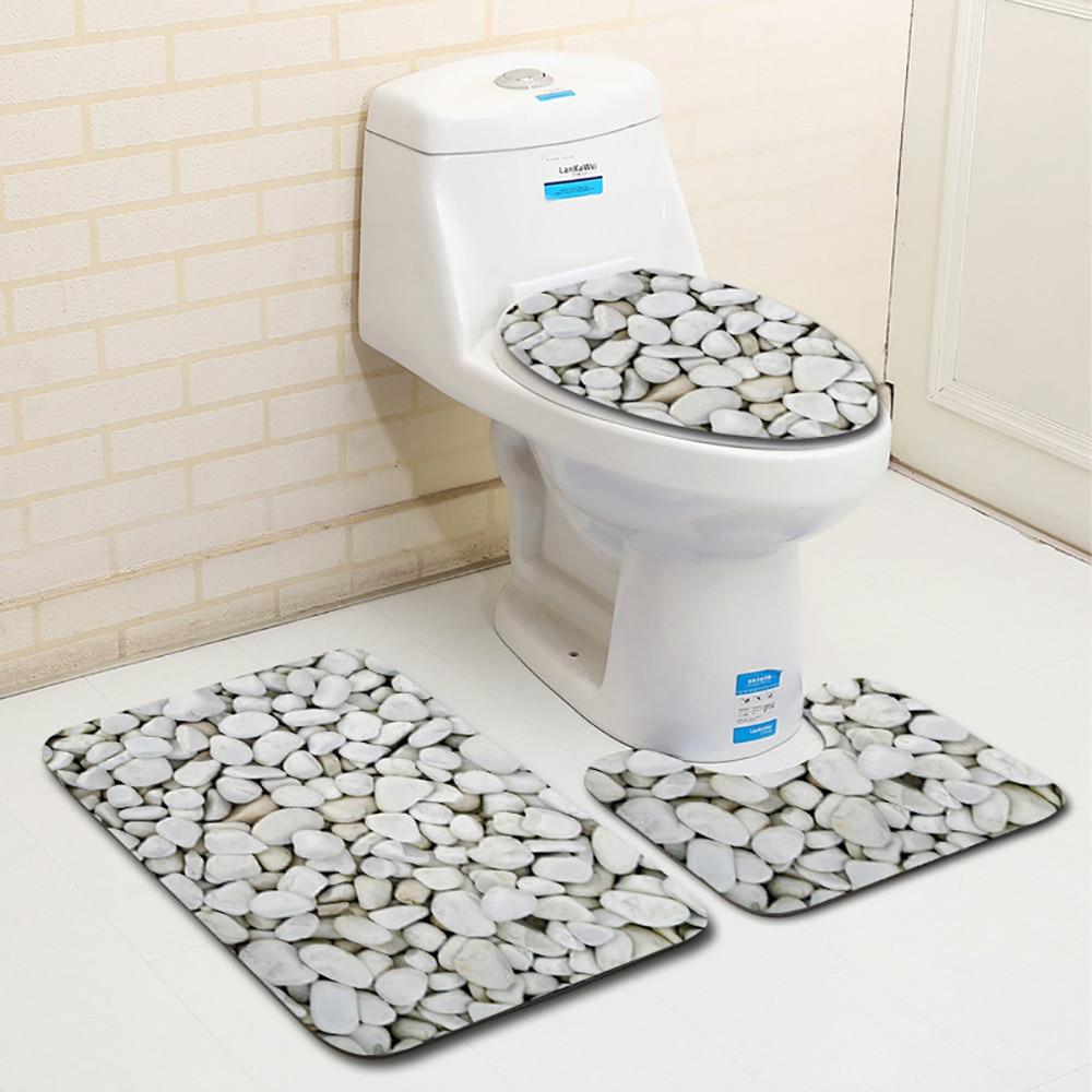 3pcs Carpet Set Bathroom 3D Stone Printing Non-Slip Bath Mat Bathroom Kitchen Carpet Doormats Decor Toilet Seat Tank Cover  Rug