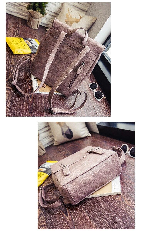MJ Women Leather Backpack Female PU Leather Travel Bag Large Solid Color Travel Backpack Big School Bag for Teenage Girls (8)