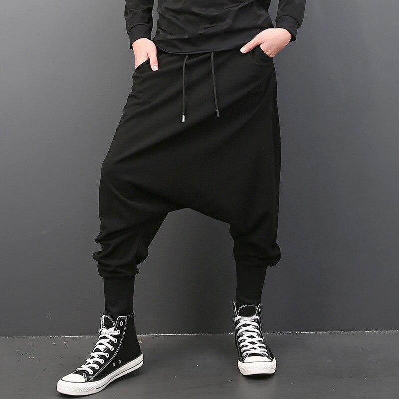 INCERUN Мужские штаны с эластичной резинкой на талии, на завязках, с заниженным шаговым швом, шаровары в стиле хип-хоп, спортивные штаны для бега, мужские брюки, модная одежда - Цвет: Black Men Pants
