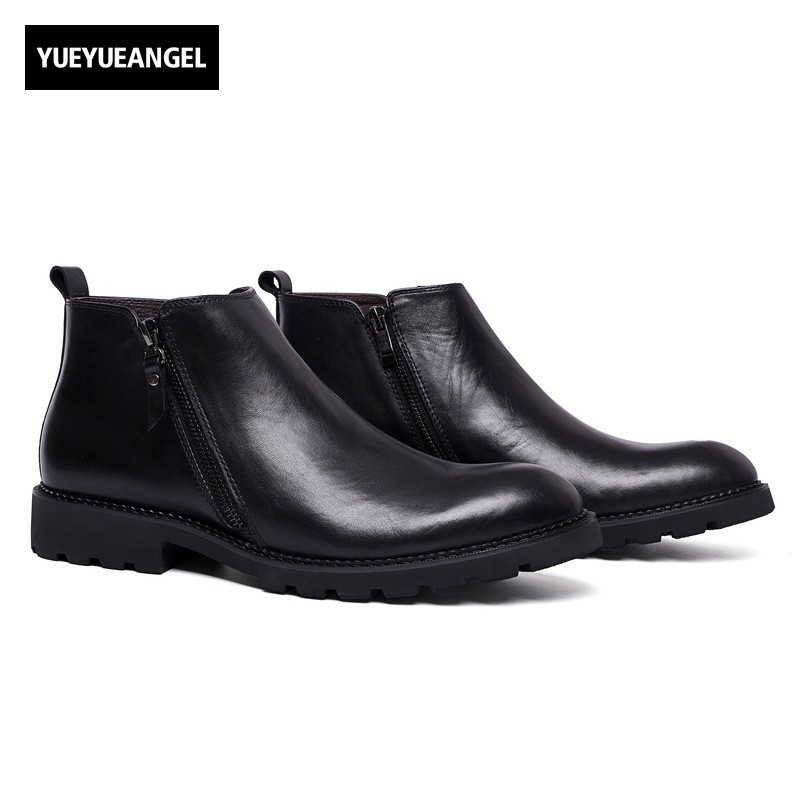 Genuine Leather Fashion Retro Mens Ankle Boots New Arrival Top Quality Male Casual Shoes Footwear Winter Zipper Schuhe Herren 1 4y spring autumn children clothing set girls sports suit baby girls tracksuit cartoon minnie children clothes set kids