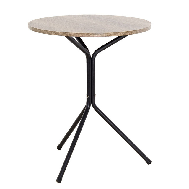 Metal Simple Small Triangle Round Tea Coffee Table Wood And Iron For