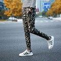 2016 Новое Прибытие Весна Осень мужская Высокой Моды Случайные Камуфляж Для Похудения Тощий Sweatpant Брюки Army Green Бесплатная доставка
