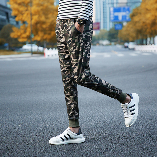 2016 New Arrival Spring Autumn Men's High Fashion Casual Camouflage Slimming Skinny Sweatpant Trousers Army Green Free shipping