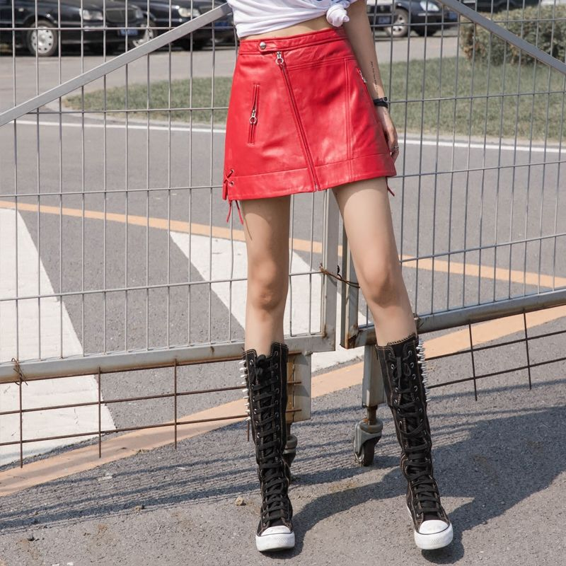 2018 Новая мода женщин High Street из натуральной овечьей кожи на шнуровке и на молнии линии талии длиной выше колена Юбки Женский Falda