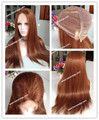 24 inches silk straight medium density size customzie light brown color full lace wig #30 in stock wigs