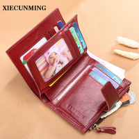 xiecunming 2018 Vintage Small Wallet Women Split Leather Coin Purse Short Wallet Female Purse blue Zipper Pocket Card Holder
