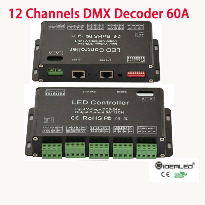 12 каналов <font><b>RGB</b></font> DMX полосы контроллер Inpot DC5V-24V 12CH DMX512 декодер высокой мощности 60A диммер драйвер <font><b>RGB</b></font> <font><b>strip</b></font> контроллер