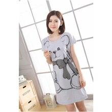 2018 Women Cotton Sleeping Nightgrown Shirt Short Sleeve Summer Sleepwear Nightwear Kigurumi Shirt Home Clothing Cartoon