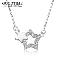 Sterling Silver Necklace Women 925 Silver Couple Stars Pendant Necklaces Fashion Korean Style Simple Jewelry Romantic Lover Gift