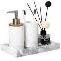 Vasos de baño de cerámica mate multifunción creativos  tazas de cepillado de dientes  juego de lavado de Base de bambú  recipiente para emulsión líquida|Vasos de cuarto de baño| |  -