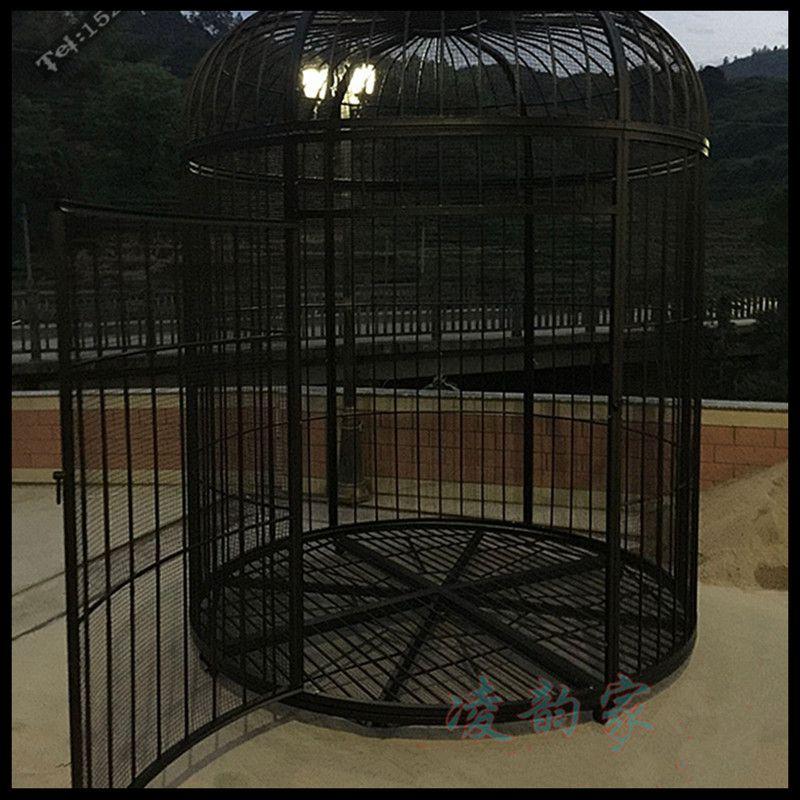 Cage à oiseaux en fer forgé paon perroquet starling muguet cage à oiseaux décorée en plein air grande cage à oiseaux (Plus le filet n'ajoute pas de fond) - 3