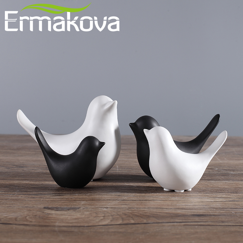 ERMAKOVA 2 Pcs Of Set Ceramic Bird Figurine Animal Bird Statue Porcelain Figurine Home Bar Coffee Shop Office Wedding Decor Gift