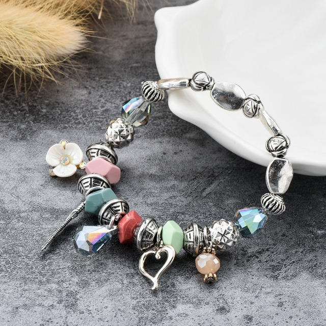 Фото chicvie love flower браслеты из нержавеющей стали с бусинами цена