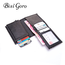 BISI GORO 2019 RFID Business Card Holder Blocking Wallet Aluminium Box PU Leather Automatic Metal Credit for Travel