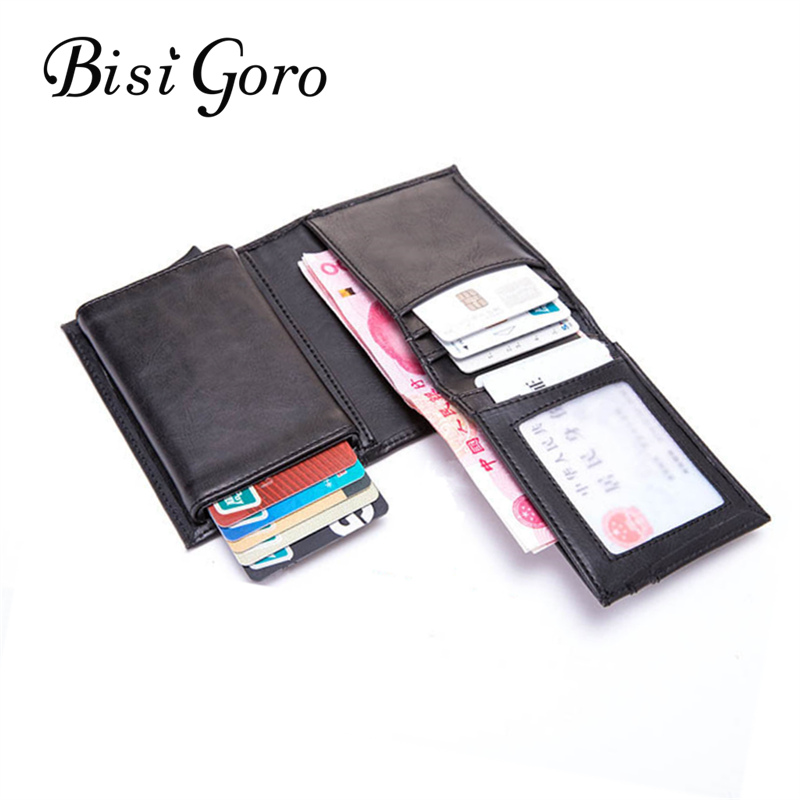 BISI GORO 2020 RFID Business Card Holder Blocking Wallet Aluminium Box PU Leather Automatic Metal Wallet Credit Card For Travel