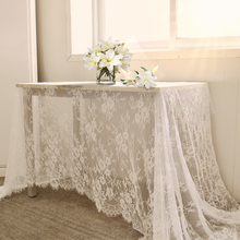 150*300CM White Floral Lace Tablecloth Embroidered Woven Vintage Large Table Cloth Cover Wedding Party Dinning Decoration