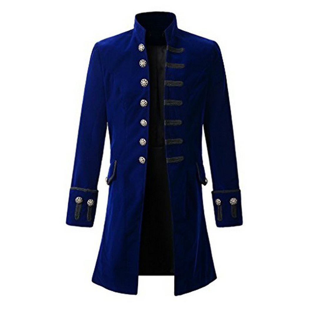 Men Coat Men'S Solid Color Fashion Steampunk Retro Long ...