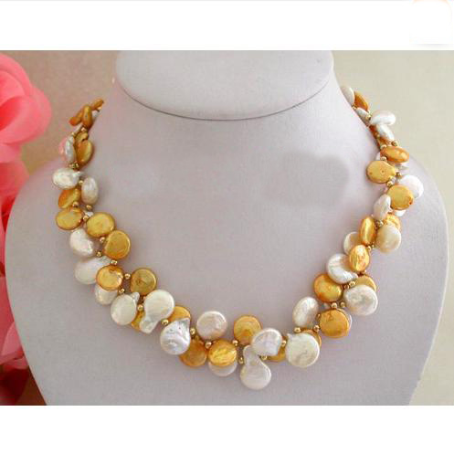 Superbe vrai bijoux de perle, collier de perles d'eau douce de pièce de monnaie de couleur d'or blanc de 2 brins 12mm, nouveau cadeau de bijoux de femmes de mode