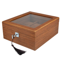6 Slot Wood Watch Box Brown Pillow Glass Window Watch Storage Case Steel Lock Wood Organization Jewelry Display Box Gift