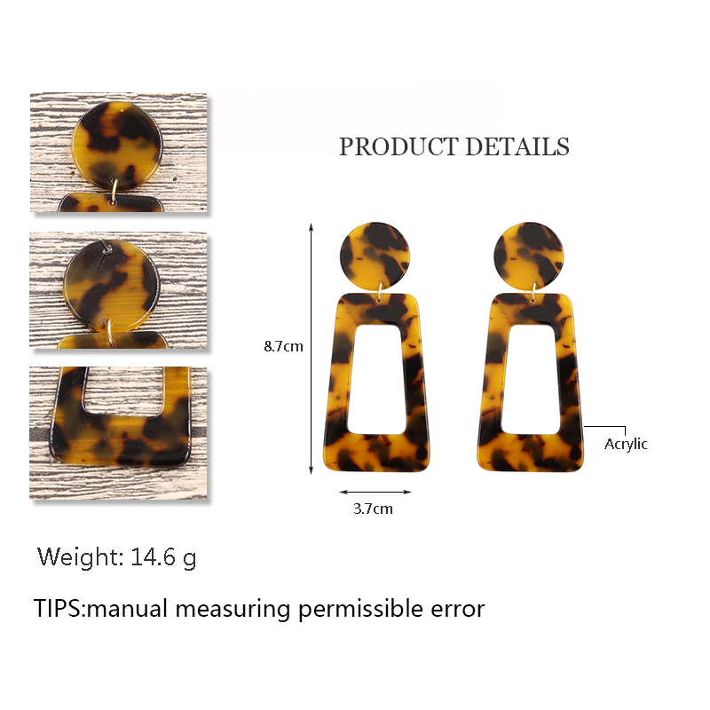 Handmade Leopard Earrings for Women Geometry Rectangle Resin Earring Tortoiseshell Statement acrylic Earrings Fashion Jewelry in Drop Earrings from Jewelry Accessories