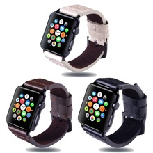 Men's Real Leather Hand Sewn Strap For Apple Watch 4/3/2/1 Classic Replaceable Safety Buckle For I watch Series 44/42/40/38mm