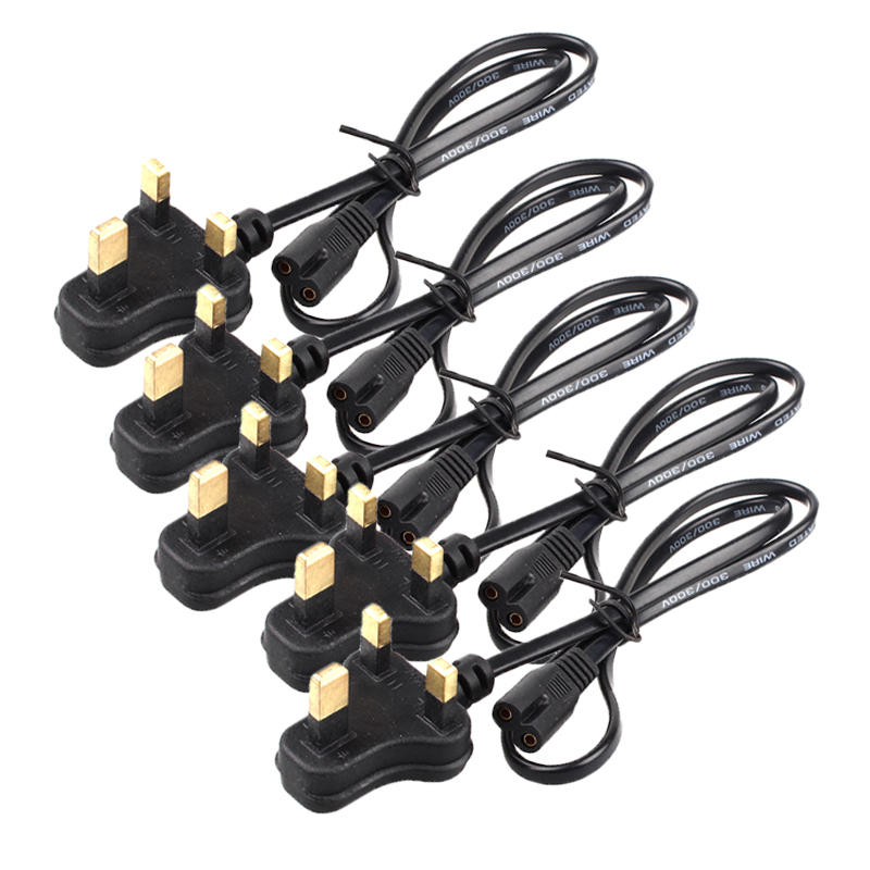 Guaranteed 100% 5pcs UK Plug AC Power Cord Cable Figure 8 Shaped End For Laptop LED Table Lamp Light Charging